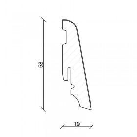 FN Dyhovaná soklová lišta 58x19x2400mm profil